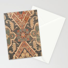 Geometric Leaves II // 18th Century Distressed Red Blue Green Colorful Ornate Accent Rug Pattern Stationery Cards