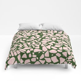 Stone Pattern - Salmon Pink & Olive Green Comforters