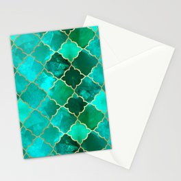 Green Quartz & Gold Moroccan Tile Pattern Stationery Cards