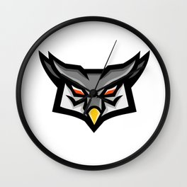 Angry Horned Owl Head Front Mascot Wall Clock