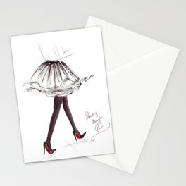 Watercolour Fashion Illustration Titled Strolling through Paris Stationery Cards