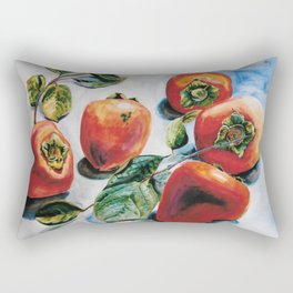 Watercolor Persimmons With Leaves Rectangular Pillow