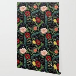 Botanical and Black Pugs Wallpaper
