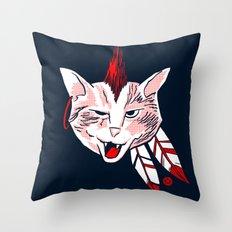 Meowhawk (navy variant) Throw Pillow