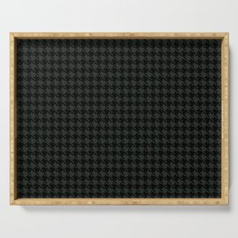 PreppyPatterns™ - Cosmopolitan Houndstooth - black and charcoal gray Serving Tray