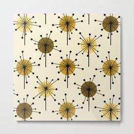 Atomic Era Sputnik Starburst Flowers Light Yellow Metal Print