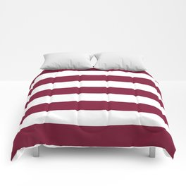 Claret - solid color - white stripes pattern Comforters