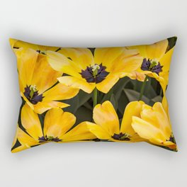 Field of Wide Open Yellow Tulips with Black Centers in Amsterdam, Netherlands Rectangular Pillow