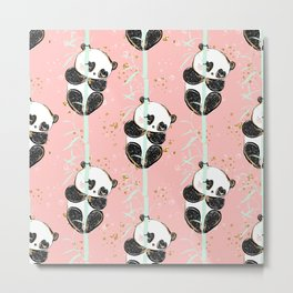 Panda Pattern 07 Metal Print