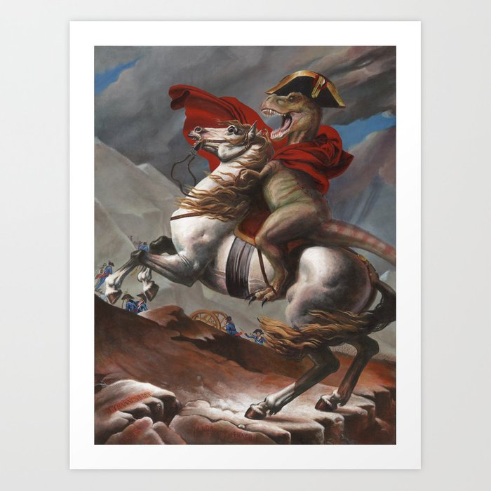 T. Rex Crossing the Alps Art Print