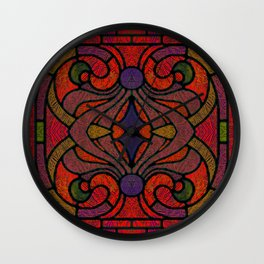 Art Nouveau Glowing Stained Glass Window Design Wall Clock