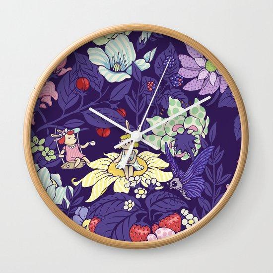 Garden party - blueberry tea version Wall Clock