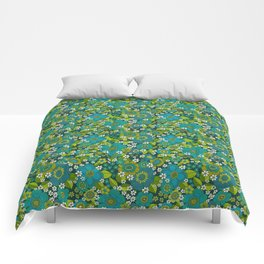 Flower power blue Comforters