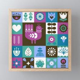 Scandinavian Midcentury Modern Composition With Birds And Flowers Framed Mini Art Print