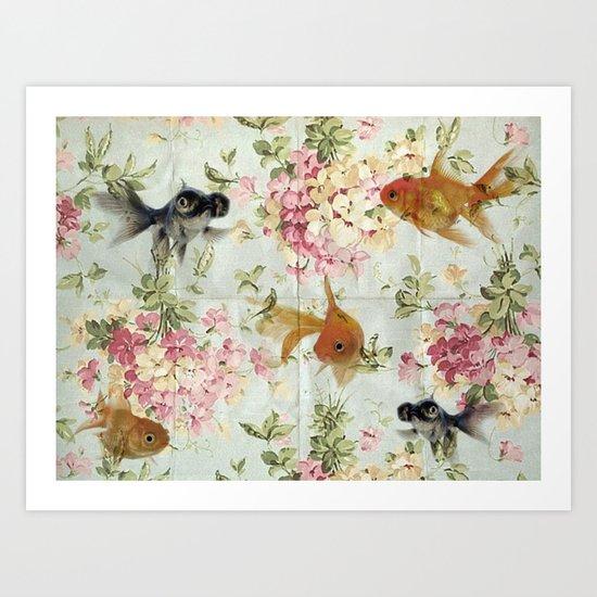 Gold fish wall paper Art Print