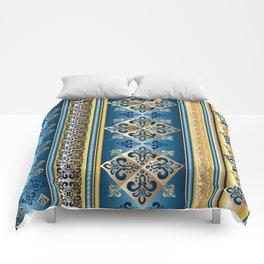 Blue and Gold Fleur de Lis Pattern Comforters