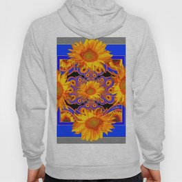 Golden Sunflowers Ornate Blue Patterns Hoody