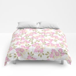 Pink coral green hand painted floral illustration Comforters
