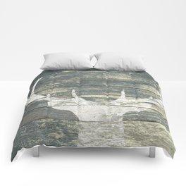 Rustic White Deer Silhouette Teal Wood A311 Comforters