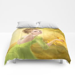 Beautiful romantic woman and fantasy gold bird Comforters