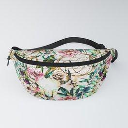 Bohemian Skull Pattern Flowery Vibrant Colors Fanny Pack