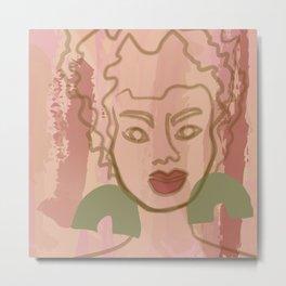 Ashley watercolor line art - pink Metal Print