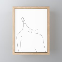 Woman's nude back and shoulders illustration - Alina Framed Mini Art Print