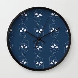 Skullcakes on blue Wall Clock