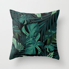 Tropical Jungle Night Leaves Pattern #1 #tropical #decor #art #society6 Throw Pillow