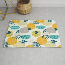 Minimalistic modern pattern with abstract different leaves. Rug