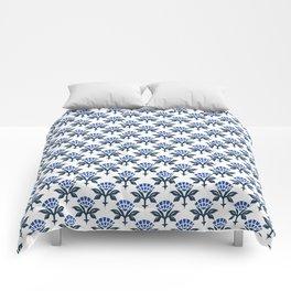 Ajrak Woodblock Floral Print in Blue Comforters