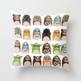 Science Fiction Sloths Throw Pillow