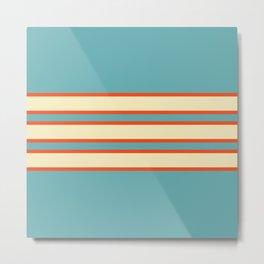70s Style Blue Beige Orange Retro Stripes Radha Metal Print