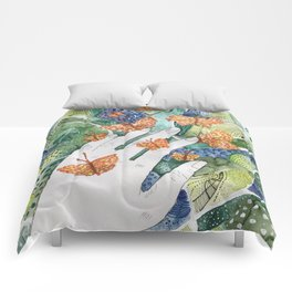 abstract whimsical nature art Comforters