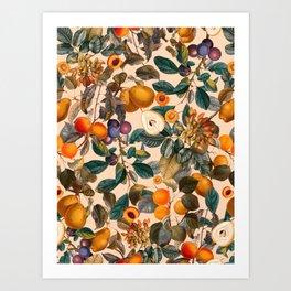 Vintage Fruit Pattern IX Art Print