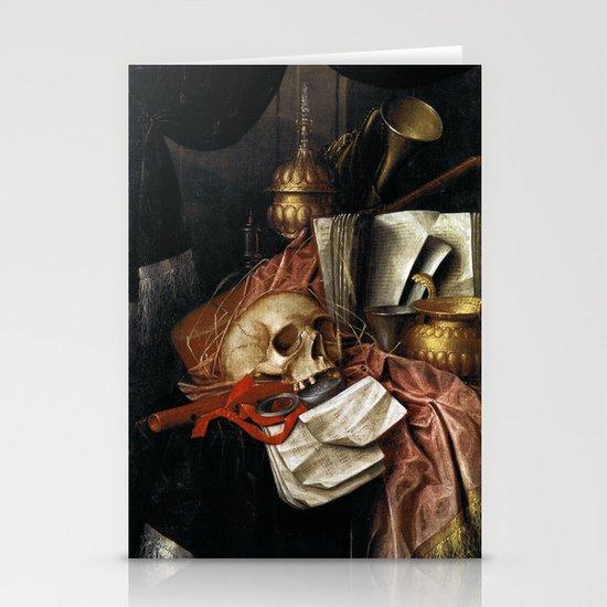 Vintage Vanitas - Still Life with skull 2 Stationery Cards