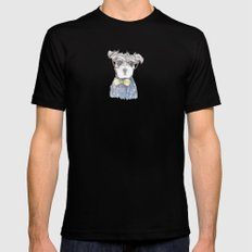 Schnauzer Dog Hipster Pup Mens Fitted Tee MEDIUM Black