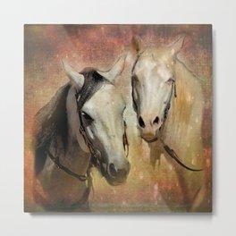 Friendly Chatter Between Horses Metal Print