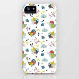winter birds pattern iPhone Case