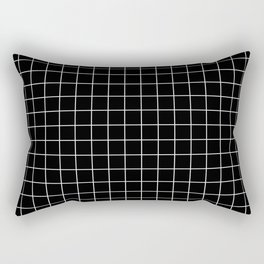 Square Grid Black Rectangular Pillow
