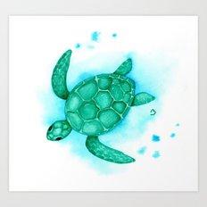 Nursery Style Sea Turtle Art Print