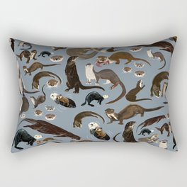 Otters of the World pattern in grey Rectangular Pillow
