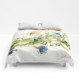 Bouquet of Wildflowers Original Colored Pencil Drawing Comforters