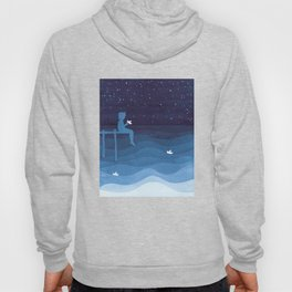 Boy with paper boats, blue Hoody