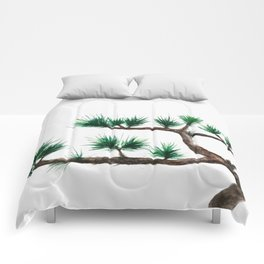 green pine tree painting Comforters