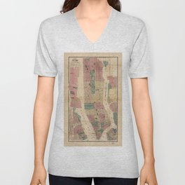 Map of New York and Vicinity (1867) Unisex V-Neck