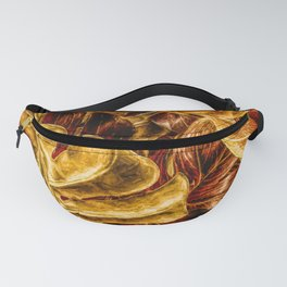 Painted Autumn Monstera palm leaves by Brian Vegas Fanny Pack