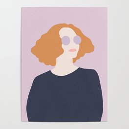 Orange Hair Girl // Minimalist Indie Rock Music Festival Lavender Sunglasses by Mighty Face Designs Poster
