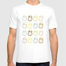 clocks pattern Mens Fitted Tee White MEDIUM