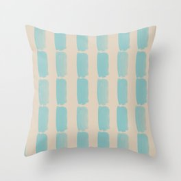 Pastel Teal and Beige Grid Brushstroke Pattern 2021 Color of the Year Aqua Fiesta and Sourdough Throw Pillow